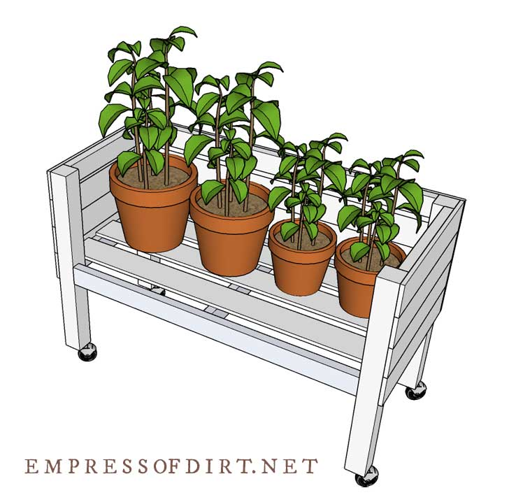 Cross section of tall raised bed with wheels showing plants inside.