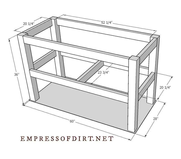 Frame of tall raised beds with approximate measurements.