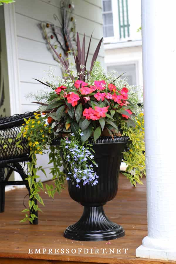 Black metal urn on front porch filled with colorful flowers and foliage.