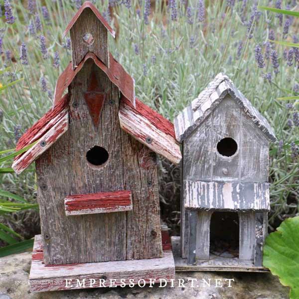 Rustic wood birdhouses.