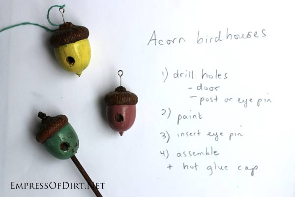 If you love fairy gardens, you can save a lot of money by creating your own accessories. This post tells you how to create simple (but sweet) pieces using polymer clay and an acorn birdhouse. It's fast and easy and will make your little garden unique.