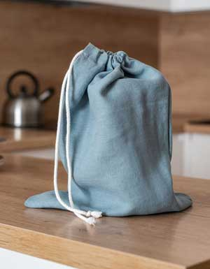 Blue linen bread bag
