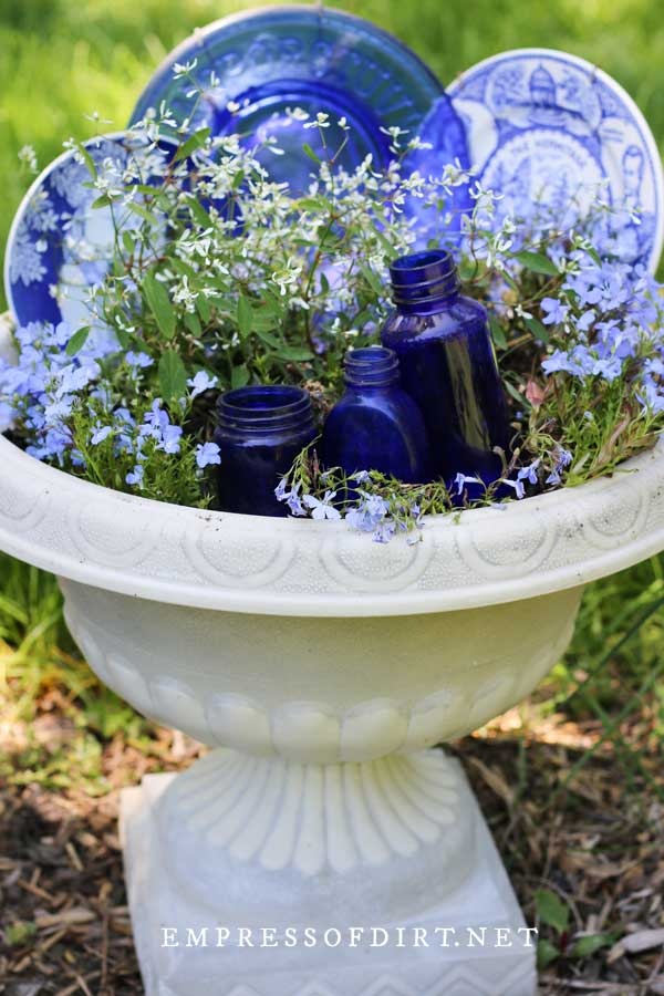 Blue and White Dish Planter in Garden