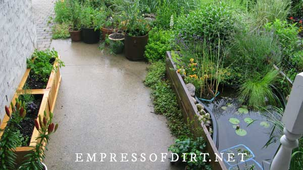 Small pond in a raised bed and container planters by walkway.