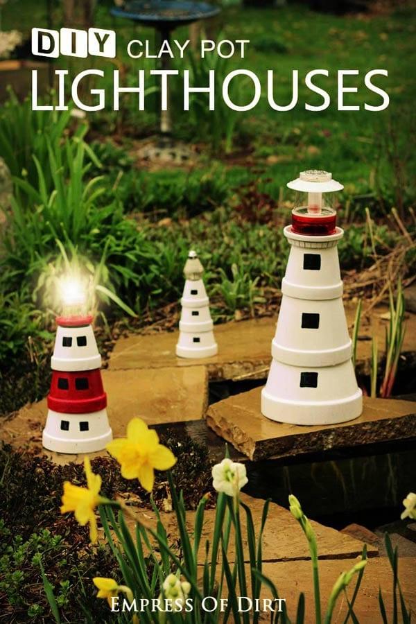 Make a garden art lighthouse with clay pots.