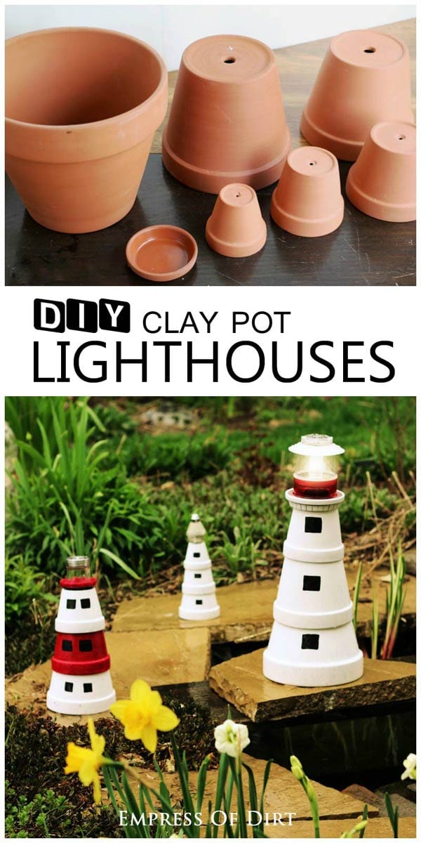 Turn clay pots into a garden art lighthouse.