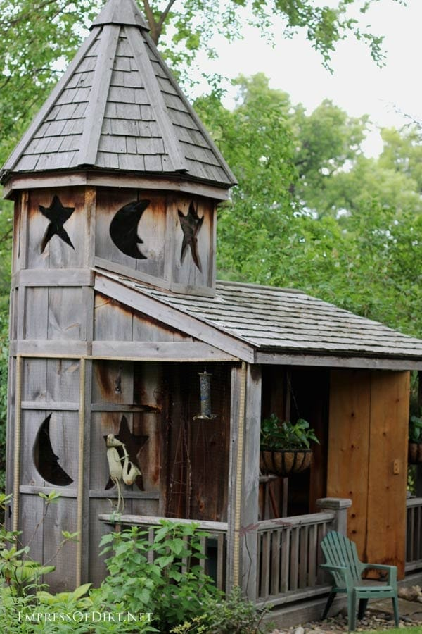 Harry Potter inspired wood garden shed with turret.