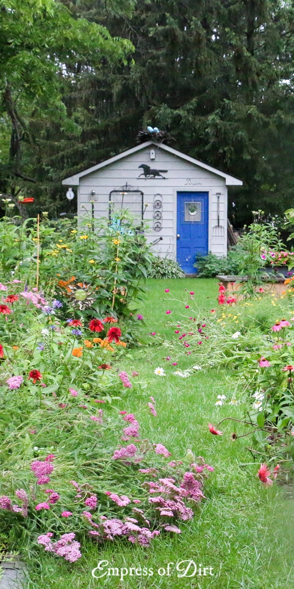 Garden shed with blue door and colorful flowers.