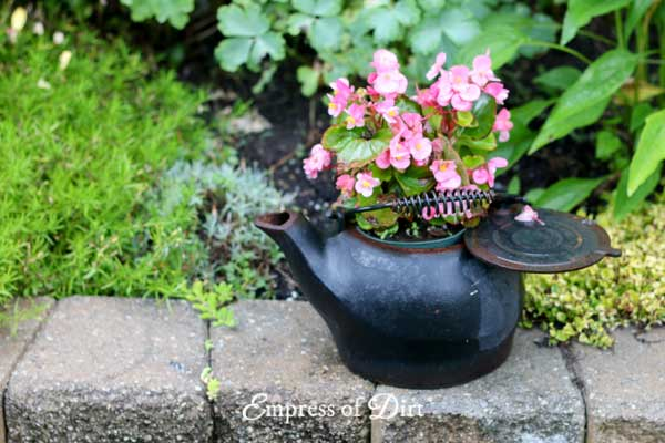 Black Kettle Flower Pot