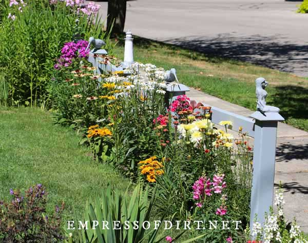 Colorful flowering perennials along fence between front yard and sidewalk.