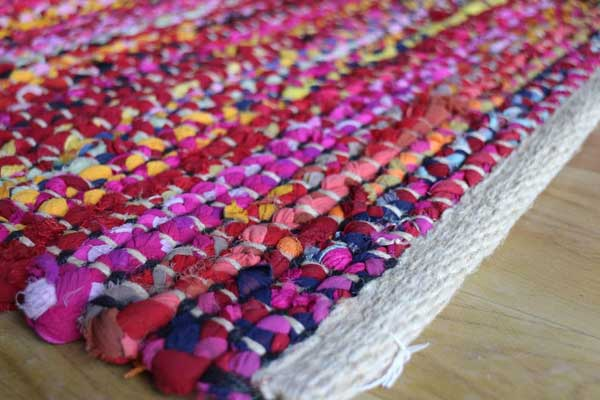 Rag rug made from upcycled clothing.