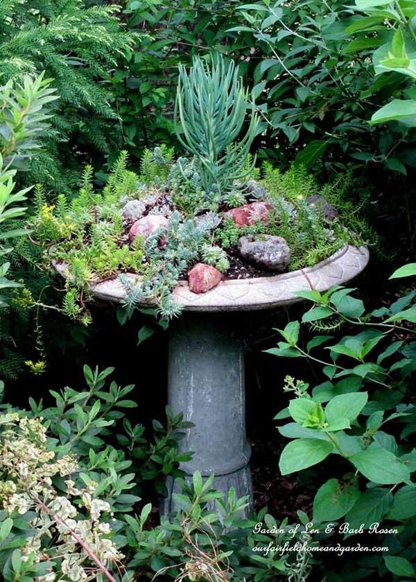 Birdbath planter by Barb Rosen.