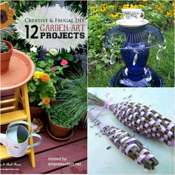 12 creative and frugal garden art projects under $20 from top DIY bloggers.