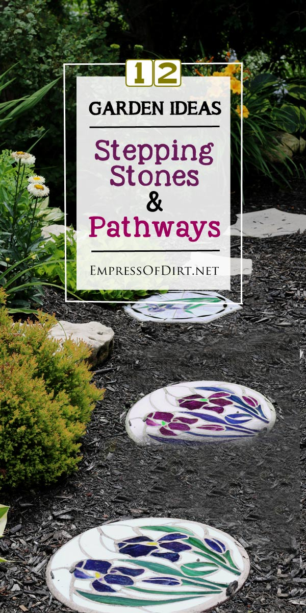 Flagstone flower | Here's a bunch of creative ideas for designing garden paths and walkways plus DIY stepping stone tutorials. Whether it's stone, brick, hypertufa, or concrete pavers, there's lots of things you can do with simple materials for a great look.