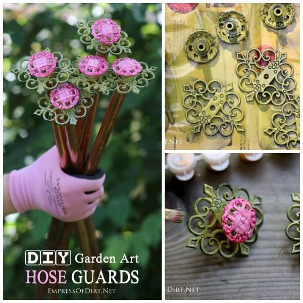 Repurpose old kitchen drawer and cupboard knobs and handles into sweet hose guards to protect your garden plants.