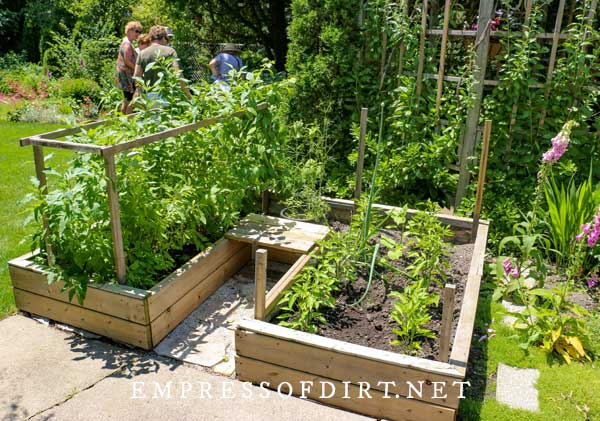 Keyhole vegetable garden with raised beds.