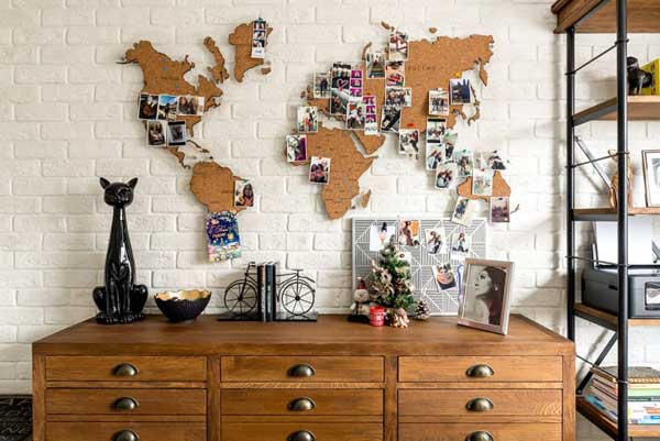 World map cutouts on wall made from cork.