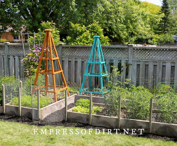 Wood raised garden beds with colorful trellis.