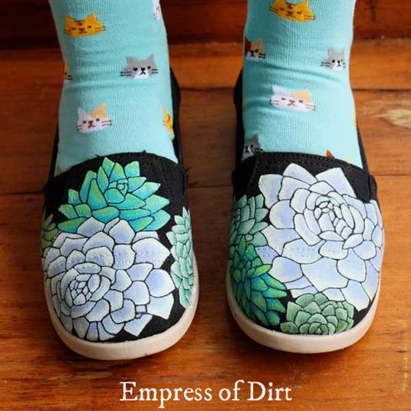 Canvas shoes painted with Echeveria succulents.