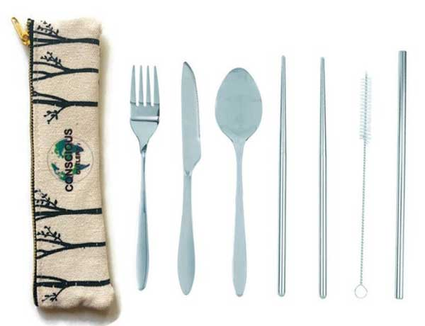 Reusable travel cutlery and straw set.