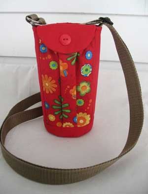 Cross body water bottle holder.