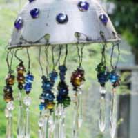 Garden art chandelier.