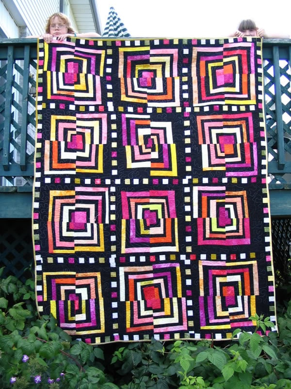 Crazy log cabin - original handmade quilt by Melissa J. Will using hand-dyed fabrics   Empressofdirt.net
