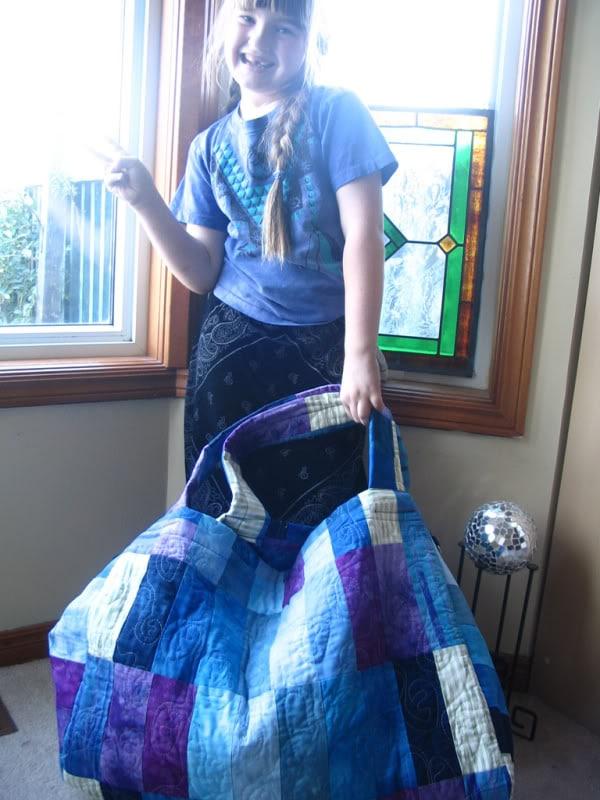 Scrap Laundry Bag -original handmade quilt by Melissa J. Will using hand-dyed fabrics   Empressofdirt.net