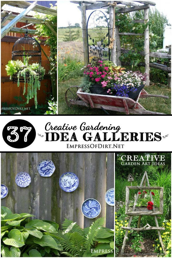 37 Creative Gardening Idea Galleries including flower plants, garden junk, garden art, wheels in the garden, sheds, arbors, trellises, veggie garden designs, and more.
