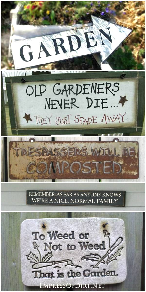 Collection of fun garden signs to add art and humour to your garden.