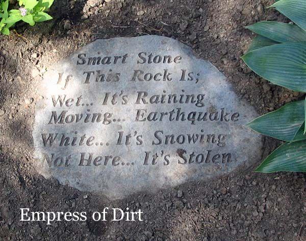Smart stone in the garden.