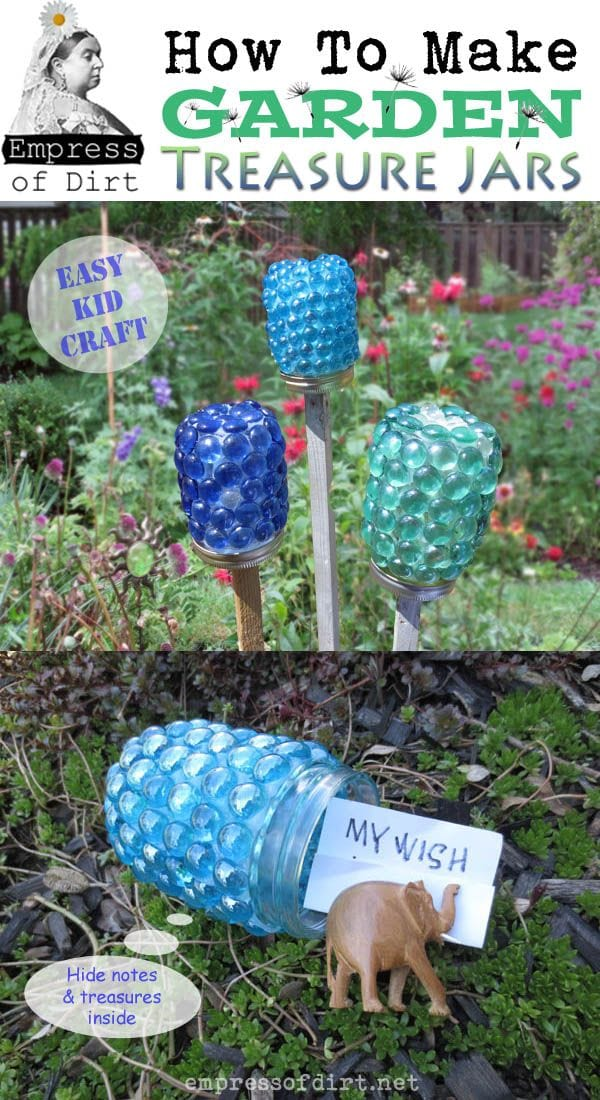 Make your own garden art treasure jars.