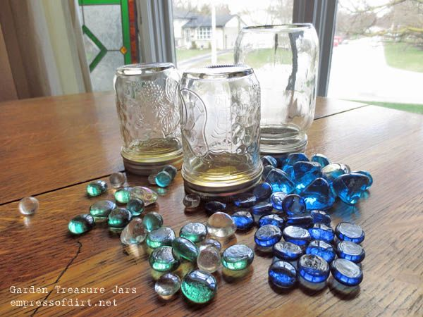 How to make garden treasure jars easy kid craft for Crafts using glass jars
