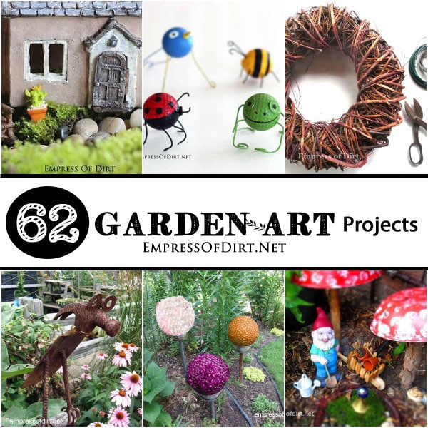 62 DIY Garden Art Projects using repurposed and recycled materials. There are so many neat ways to turn ordinary household items like jars, old tools, dishes, lamps, and more and transform them into one-of-a-kind garden decor.
