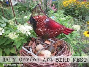 Turn a grape vine wreath into a garden art bird nest