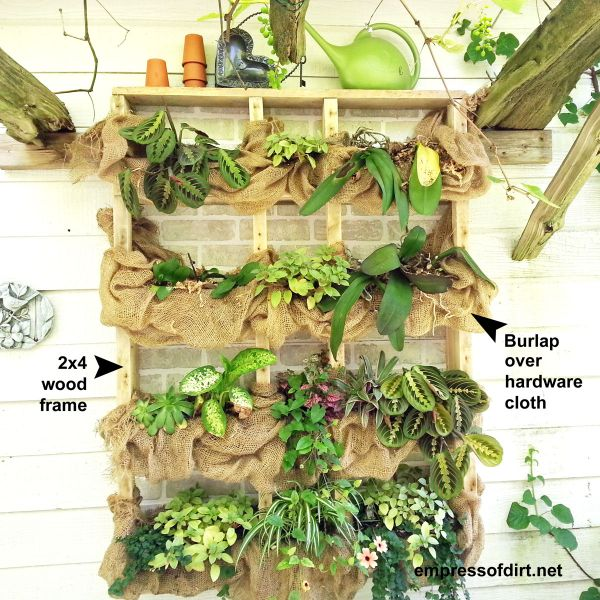 DIY Outdoor wall plant shelf with burlap.