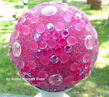 Pink garden art ball