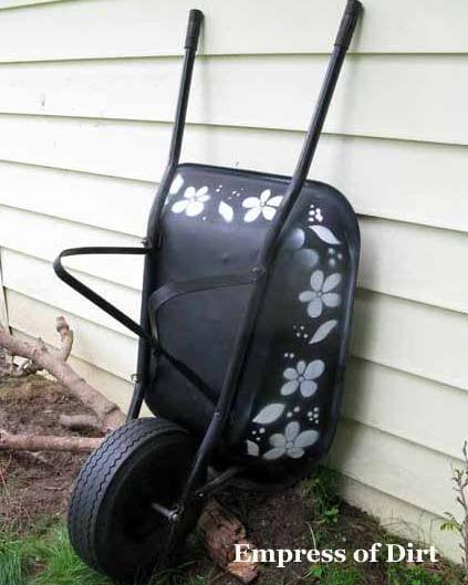 Stencilled wheelbarrow