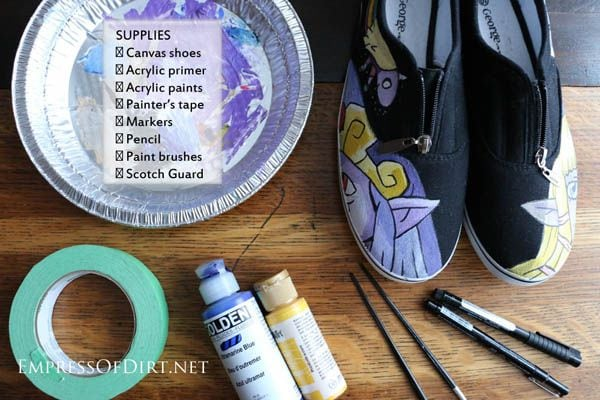 How to paint shoes empress of dirt for Materials for canvas painting
