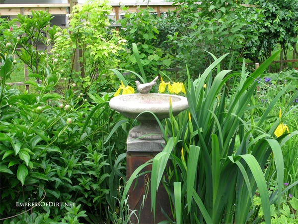 Concrete bird bath with decorative bird