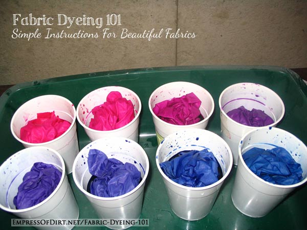 Hand-dyeing cotton fabrics in plastic beer cups.