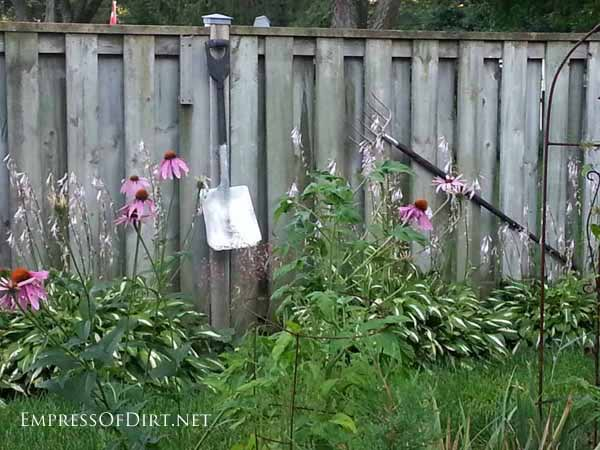 Old tools make great garden art. Let them rust or add spray paint.