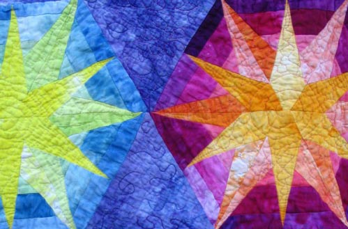 Quilt created with hand-dyed fabrics by Melissa J Will, author of Fabric Dyeng 101