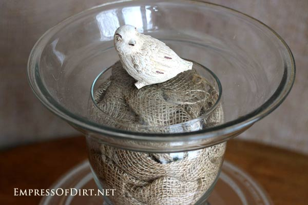 DIY Bird Bath Ideas and Tutorial using burlap, twine, seashells, kitchen utensils and more at empressofdirt.net/diy-bird-bath-ideas