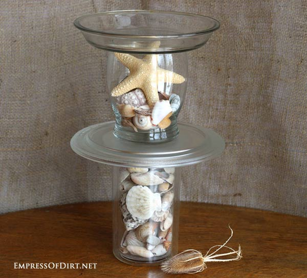 DIY Bird bird bath garden art project tutorial at http://empressofdirt.net/diy-bird-bath-ideas/ #seashells