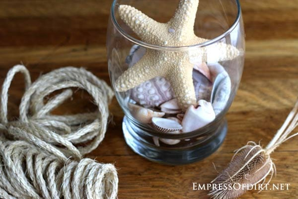 DIY Bird Bath Ideas and Tutorial using burlap, twine, seashells, kitchen utensils and more at empressofdirt.net/diy-bird-bath-ideas