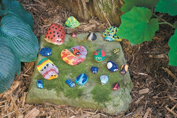 DIY rock bugs | Gardening Lab For Kids: 52 Fun Experiments