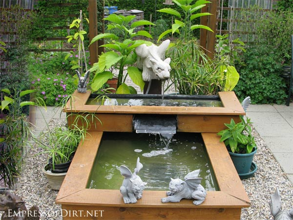 2 Tier Wood Framed Raised Pond With Water Feature