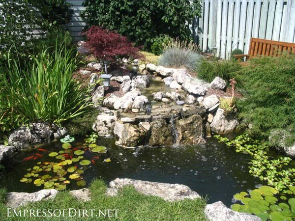 17 beautiful backyard pond ideas for all budgets for Homemade pond ideas