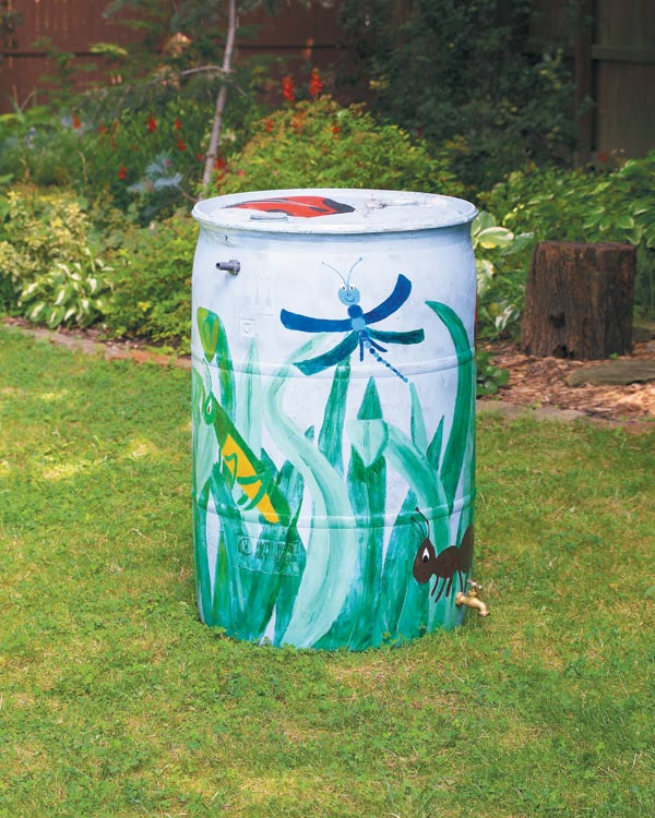 DIY painted rain barrel | Gardening Lab For Kids: 52 Fun Experiments